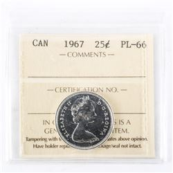 "1967 - 25 cents. ""MS-65[ICCS Certified : XIB-354]"""