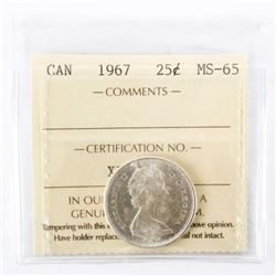 "1967 - 25 Cents. ""PL-66[ICCS Certified : XFR-778]"""