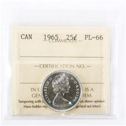 "1965 - 25 Cents. ""PL-66[ICCS Certified : XFR-636]"""