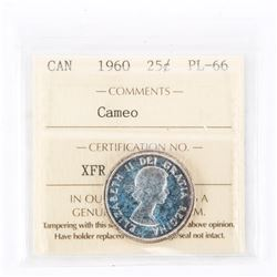 "1960 - 25 Cents. ""PL-66 Cameo[ICCS Certified : XFR-552]"""