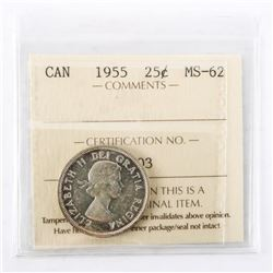 "1955 - 25 cents. ""MS-62[ICCS Certified : XEB-503]"""