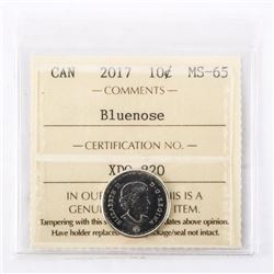 "2017 - 10 Cents [Bluenose]. ""MS-65[ICCS Certified : XDO-820]"""