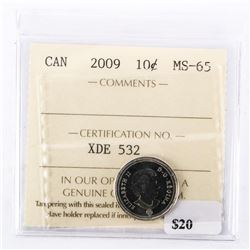"2009 - 10 cents. ""MS-65[ICCS Certified : XDE-532]"""