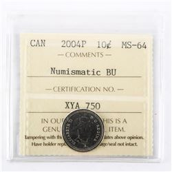 "2004 - P - 10 cent. ""PL-64Numismatic BU - MS-64[ICCS Certified : XYA-750]"""