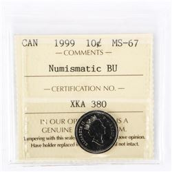 "1999 - 10 cents. ""PL-67(Numismatic BU : MS67)[ICCS Certified : XKA-380]"""