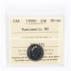 "1998 - W - 10 cents. ""PL-66Numismatic BU : MS-66[ICCS Certified : XZR-335]"""
