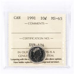 "1991 - 10 cent. ""MS-65[ICCS Certified : XVB-124]"""