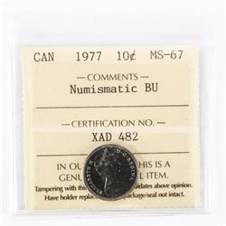 "1977 - 10 cents. ""PL-67(Numismatic BU - MS67)[ICCS Certified : XAD-482]"""