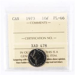 "1973 - 10 cents. ""PL-66[ICCS Certified : XAD-478]"""