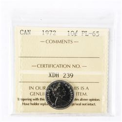 "1972 - 10 cents. ""PL-65[ICCS Certified : XDH-239]"""