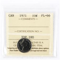 "1971 - 10 cents. ""PL-66[ICCS Certified : XAD-476]"""