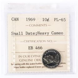 "1969 - 10 cents [Small Date]. ""PL-65 Heavy Cameo[ICCS Certified : EB-466]"""