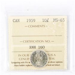 "1959 - 10 cents. ""MS-65[ICCS Certified]"""