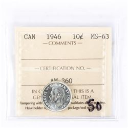 "1946 - 10 cents. ""MS-63[ICCS Certified : AM-360]"""