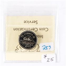 "1999 - 5 cents. ""PL-67(Numismatic BU - MS67)[ICCS Certified : XKA-458]"""