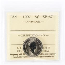 "1997 - 5 cents. ""SP-67[ICCS Certified : XPF-549]"""