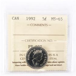 "1992 - 5 Cents (125th Anniversary - 1867-1992). ""MS-65[ICCS Certified : PP-597]"""