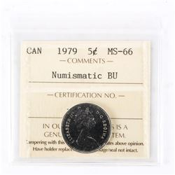"1979 - 5 cents. ""PL-66(Numismatic BU : MS-66)[ICCS Certified : XMV-054]"""