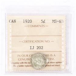 "1920 - 5 cents. ""MS-63[ICCS Certified : IJ-202]"""