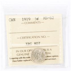 "1919 - 5 cents. ""MS-62[ICCS Certified : XRG-807]"""