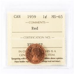 "1959 - 1 cent. ""MS-65 Red[ICCS Certified : XPF-127]"""