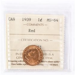 "1939 - 1 cent. ""MS-64 RED[ICCS Certified]"""