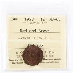 "1928 - 1 cent. ""MS-62 Red & Brown[ICCS Certified]"""
