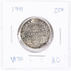 1914 Canada Silver 25 Cent VF30 (GR)