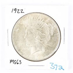 USA Silver Peace Dollar 1922 MS63. (CR)
