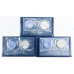 Lot (3) 1973 Silver Eisenhower UNC Dollar Coins