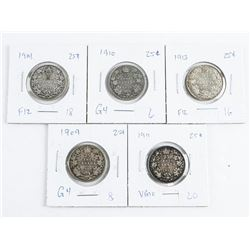Group (5) CANADA Silver 25 Cents: 1909, 1910, 1911, 1913, 1914 (CG)