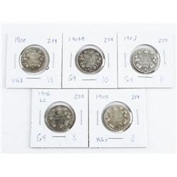 Group (5) CANADA Silver 25 Cents: 1900, 1902H, 1903, 1905, 1906LC (CE)
