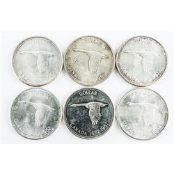Lot (6) Canada Silver Dollars: 1867-1967