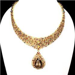Natural Smoky Quartz Ruby  & Fancy Sapphire Necklace