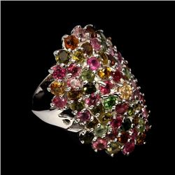 Natural Multi Color Tourmaline Ring