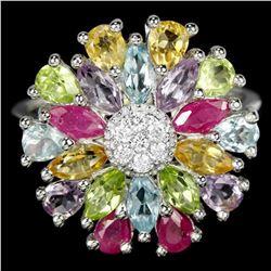 Natural TOPAZ RUBY AMETHYST CITRINE PERIDOT Ring