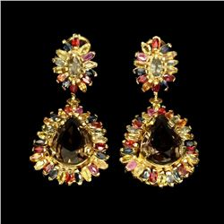 Natural Sapphire & Smoky Quartz 15x11 MM Earrings