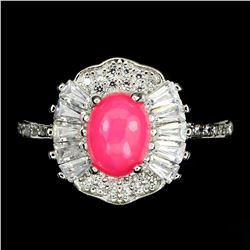 Natural Unheated Oval Pink Fire Opal Ring