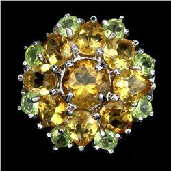 Natural Yellow Citrine Green Peridot Ring