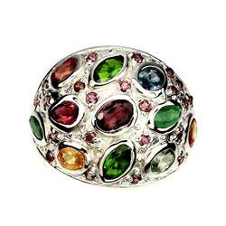 Natural Sapphire Emerald &  Rhodolite Garnet Ring
