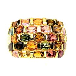 Natural Untreated Multi Color Tourmaline Ring