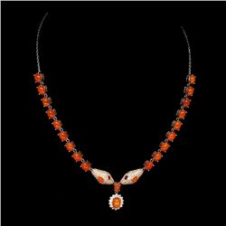 Natural Orange Fire Opal Cobra Necklace