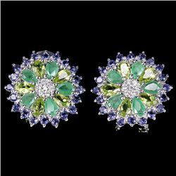 Natural  EMERALD PERIDOT TANZANITE Earrings