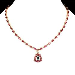 Natural Sky Blue Topaz & Pink Tourmaline Necklace