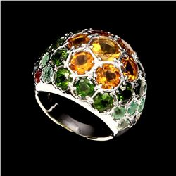 Natural Citrine Chrome Diopside Emerald Sapphire Ring