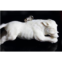 Natural Hand Craved Antler 3D Boar Pendant