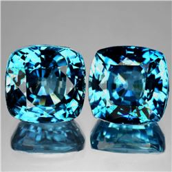 Natural AAA Seaform Blue Zircon Pair {Flawless-VVS1}
