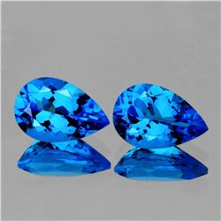 Natural Premium AAA Swiss Blue Topaz Pair 9x6 MM  FL