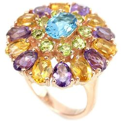 Natural SWISS BLUE TOPAZ PERIDOT AMETHYST CITRINE Ring