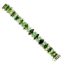Natural Chrome Diopside & Emerald 91.41 Cts Bracelet
